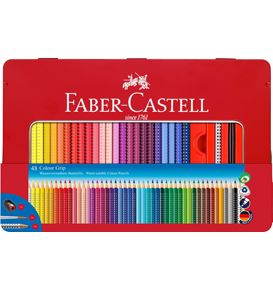 Faber-Castell - Estuche metal con 48 lápices Colour Grip
