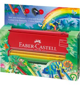 Faber-Castell - Estuche metal c/16 lápices Colour Grip jungla