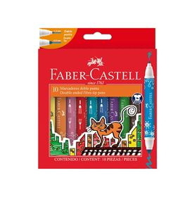 Faber-Castell - 10 marcadores doble punta